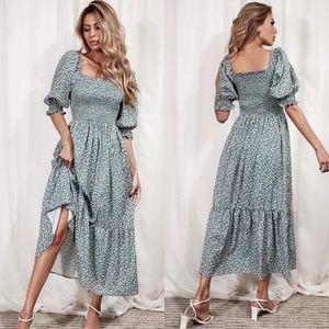 Boho floral ruffle hem shirred dress